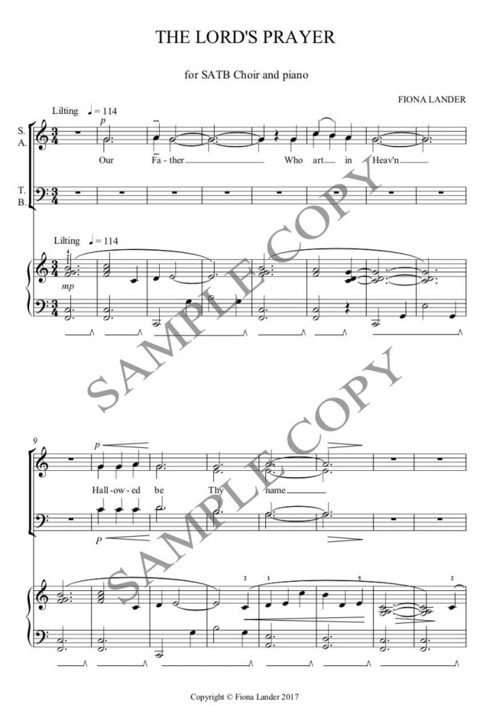 The Lord's Prayer – SATB Choir and piano/organ | Fiona